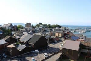 鞆城から見た大可島城
