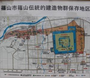 篠山城の散策地図