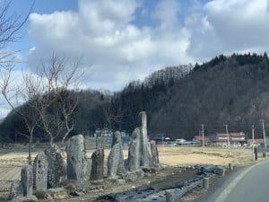 火渡の石碑群と火渡城